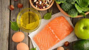 salmon, eggs, beans, salad, fruit, olive oil, nuts
