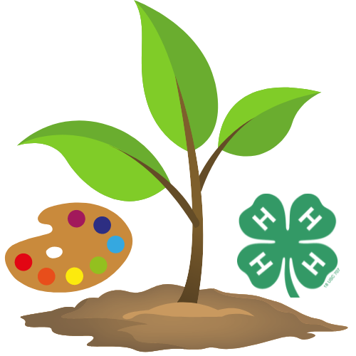 paint pallet, plant and 4-h clover
